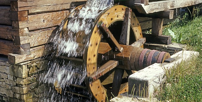 Wooden wheel of an old mill, Open-air museum, Rožnov