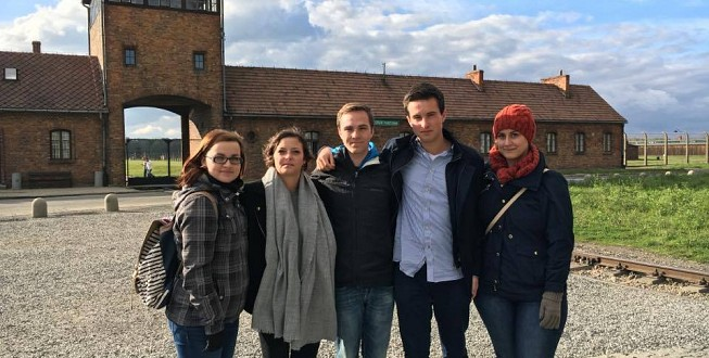 Sebastian and his colleagues at Auschwitz-Birkenau